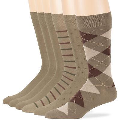 Men/'s Cotton 6 Pack Dress Business Argyle Dotted Striped Socks Large 10-13 Khaki