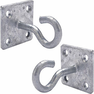 2x 50mm Galvanised Steel Hook On Face Plate Wire Rope Lashing Cable Wall Mount Ebay