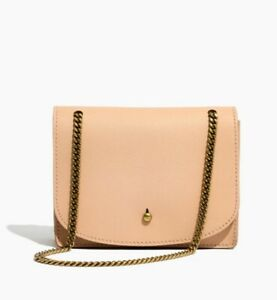 e034e68419c5 Details about Madewell The Chain Leather Crossbody Bag Color LINEN