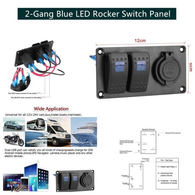 2-Gang Rocker Switch Panel Circuit Breaker Waterproof LED for Car Marine Boat