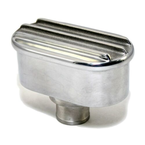 Aluminum Valve Cover Polished Retro Finned Breather Push In with Raised Fins