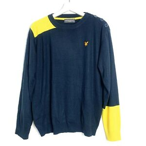 Mens-Lyle-And-Scott-Blue-And-Yellow-Vintage-Jumper-size-Medium