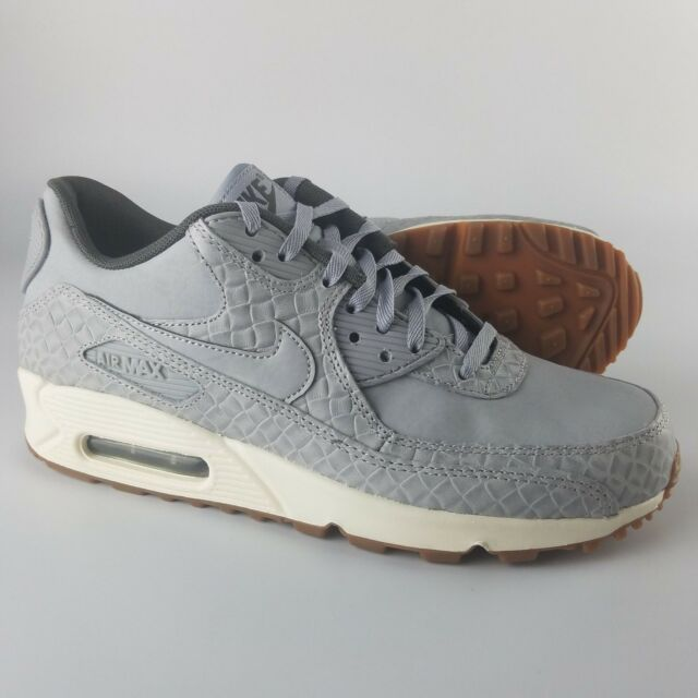 Nike Women's Air Max 90 Premium Running Shoes Wolf Grey Sail 443817 011 Gum Btm