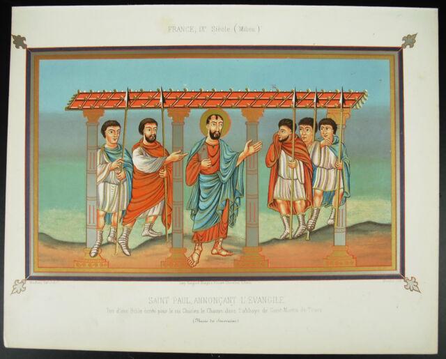 Saint Paul Announcing the Gospel King Charles The Bald Litho Xixth 1858 Hangard
