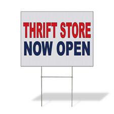 Weatherproof Yard Sign Thrift Store Now Open Red Blue Lawn Garden