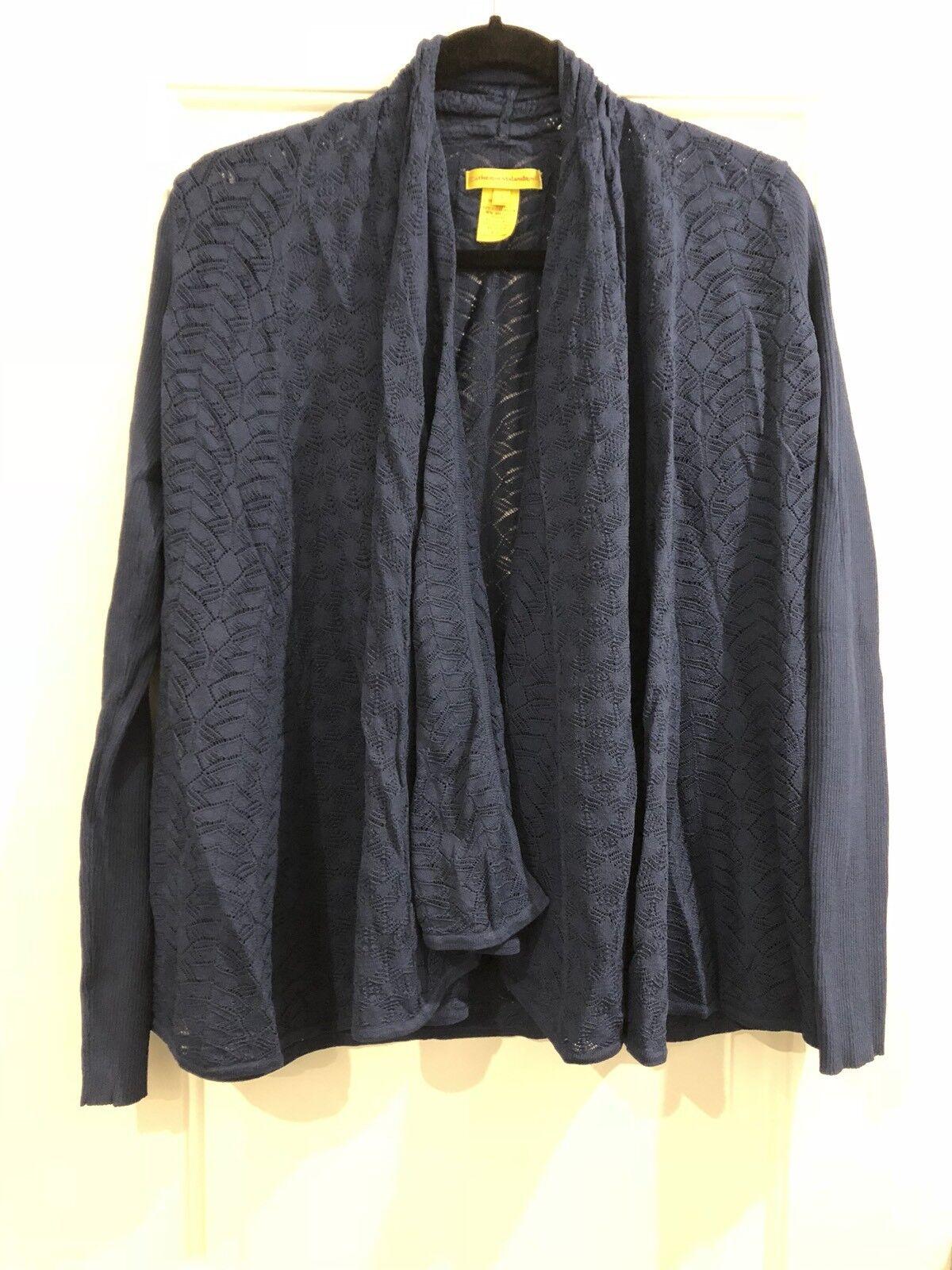 New Catherine Malandrino Womens Sweater Large Navy bluee Cardigan Open Front Top