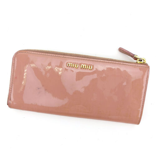 miumiu Wallet Purse Long Wallet Pink Gold Woman Authentic Used L1221