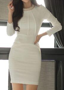 cheap for discount cef26 bfffe Dettagli su Elegante vestito abito bianco tubino slim maniche lunghe slim  3140