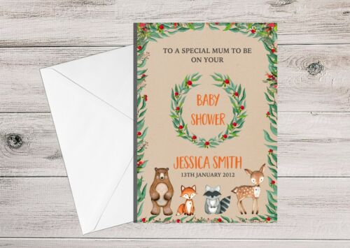Personalised Baby Shower Card for Mummy to be Woodland Animal Neutral Baby A5
