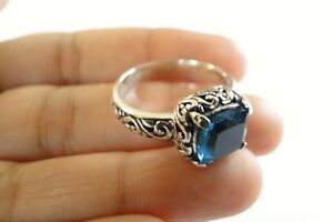 London-Blue-Topaz-Solitaire-925-Sterling-Silver-Ring-Size-6-25-7-25-8-25-9-25