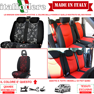 Set Coprisedili Adattabili Fiat Qubo Fodera Fodere Foderine Complete Rosso 35