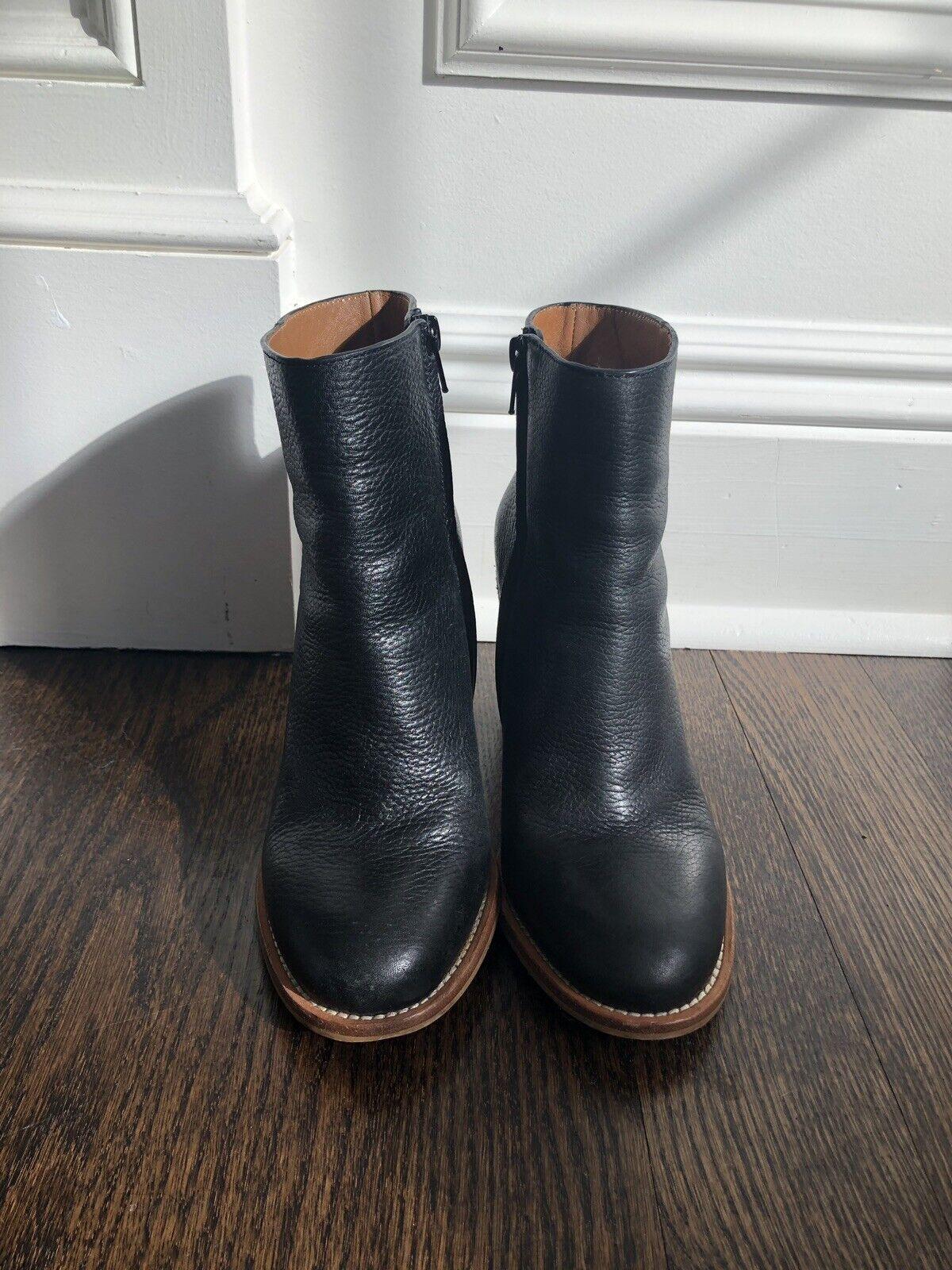 SEE BY CHLOE en cuir noir bois Plateforme Bottines Chaussons SZ 37 1 2