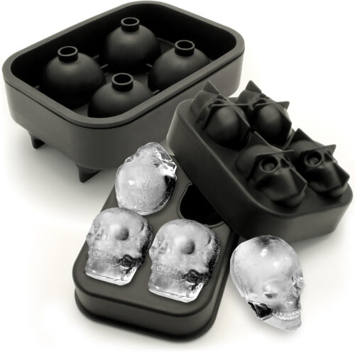2x Flexible Silicone Ice Cube Crâne Maker 4x4.5cm Crâne Moule Whisky Cocktail