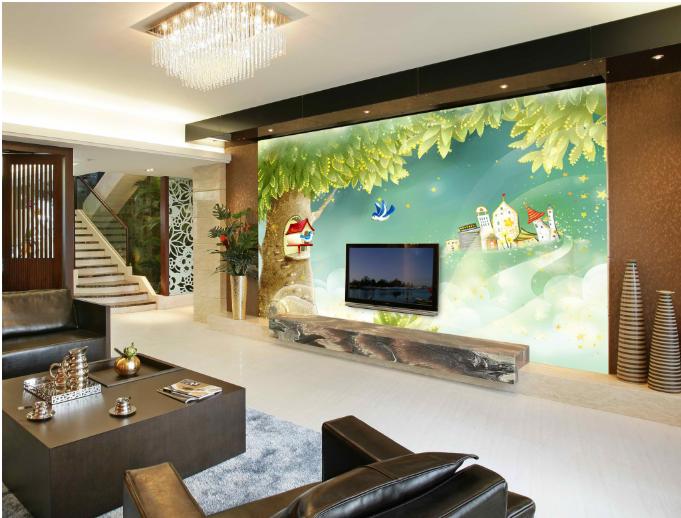 3D Fireflys Hut Tree 7 Wall Paper Murals Wall Print Wall Wallpaper Mural AU Kyra