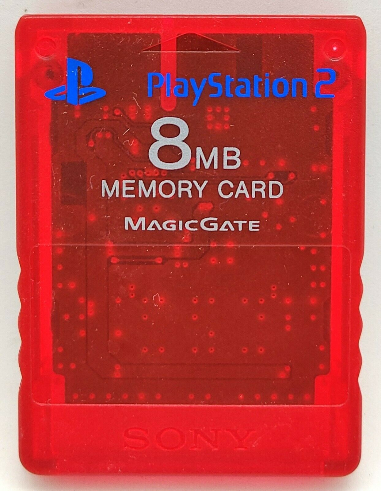 Official Genuine Clear Red Magic Gate Memory Card for Sony PlayStation 2 PS2 8MB