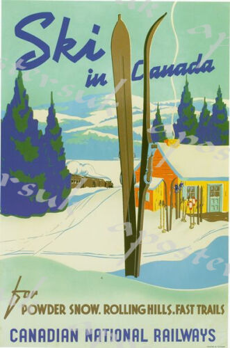 Vintage Skiing in Canada Tourism Poster A4//A3//A2//A1 Print