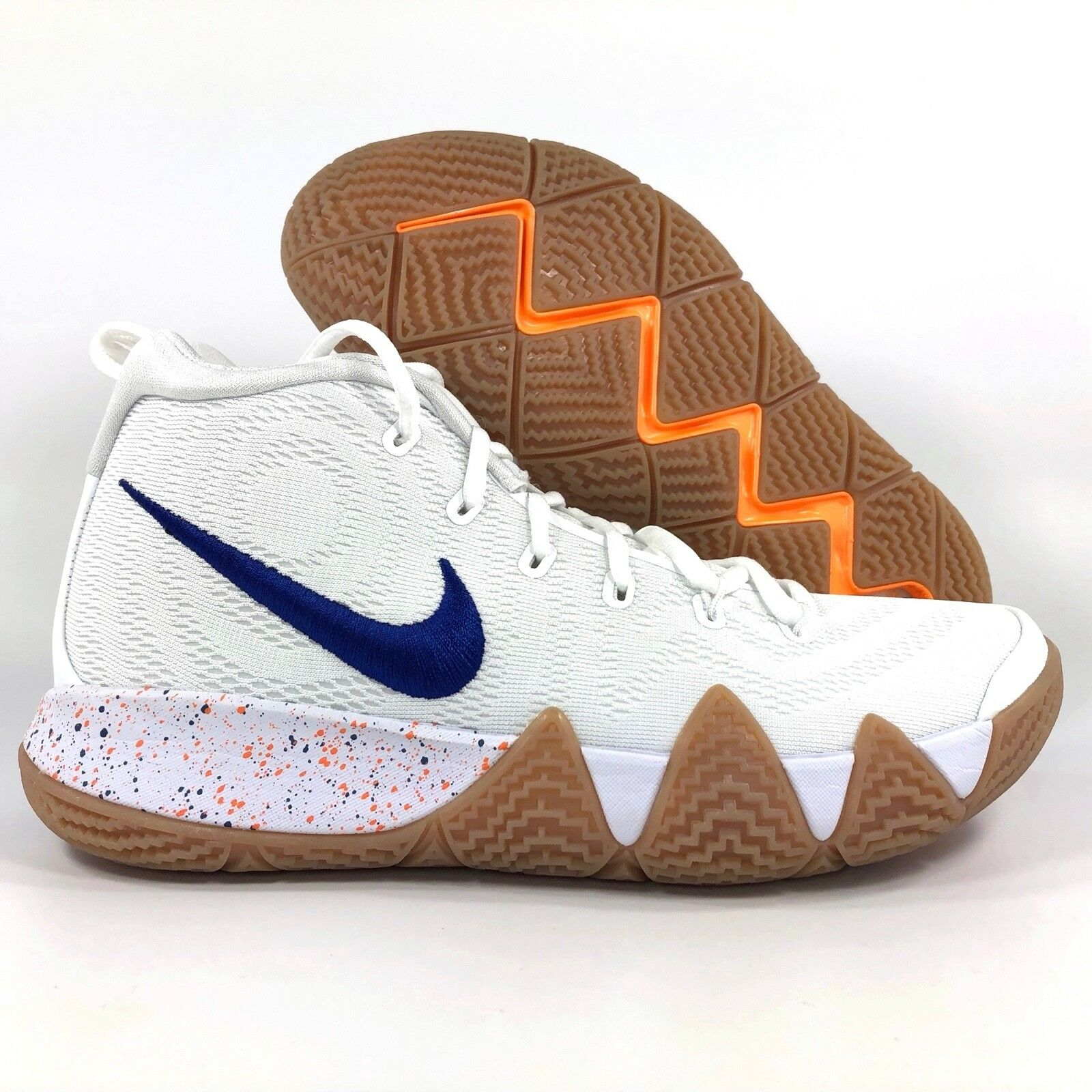 Nike Kyrie 4 Uncle Drew White Royal bluee Gum Sole 943806-100 Men's 16