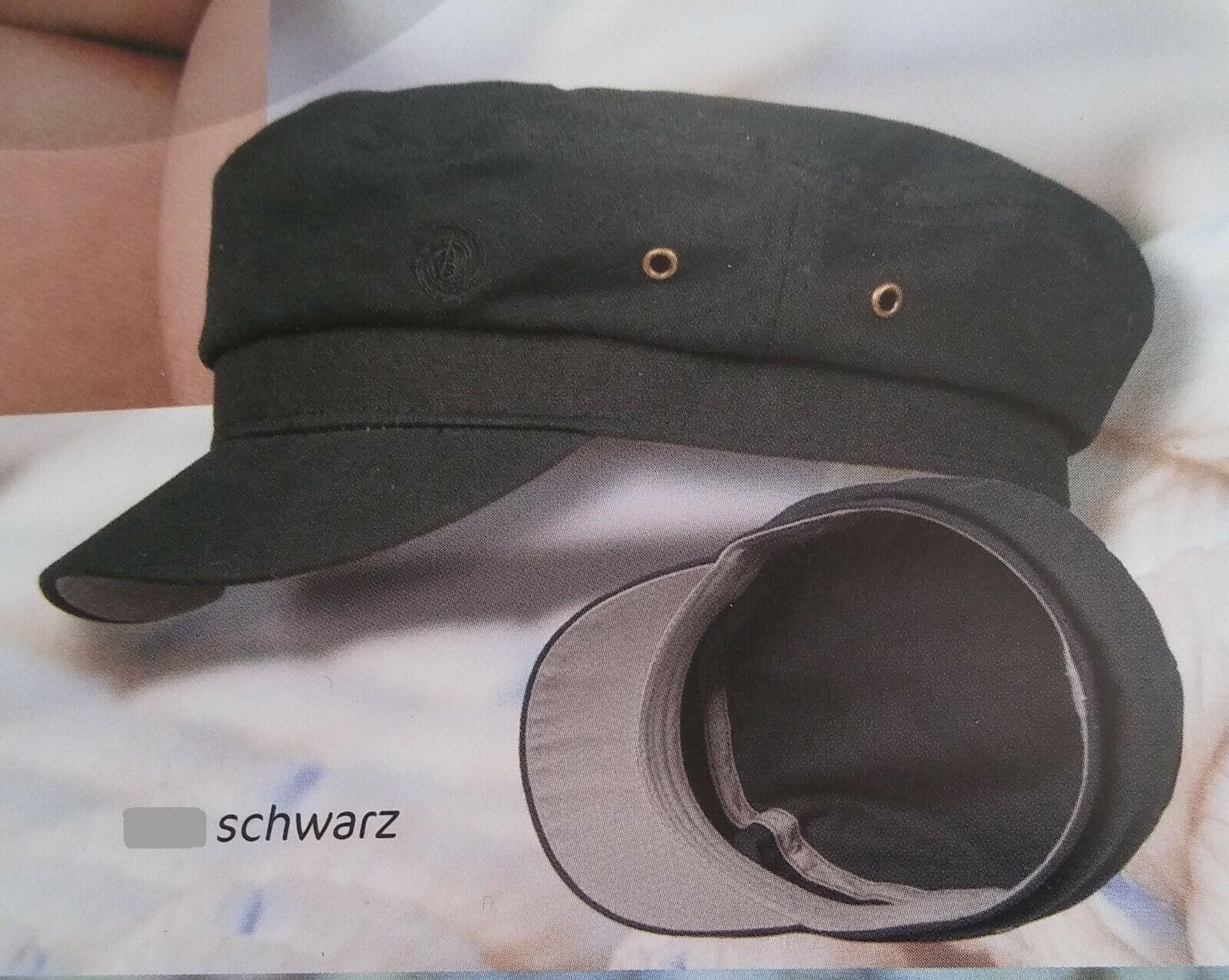 Elbsegler Schwarz Fisherman Style Cotton Canvas Mütze neu