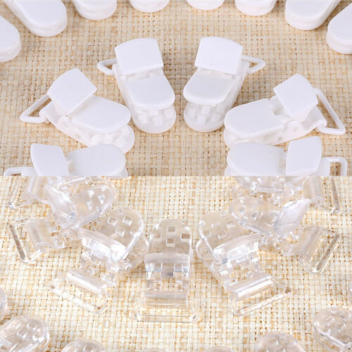 50 Suspender Paci Soother Pacifier Holder Dummy Clips KAM Plastic Clear//White