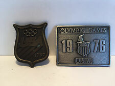 2 Vintage OLYMPIC GAMES Belt Buckles 1976 & 1980 Bergamot Brass Works US U.S.A.