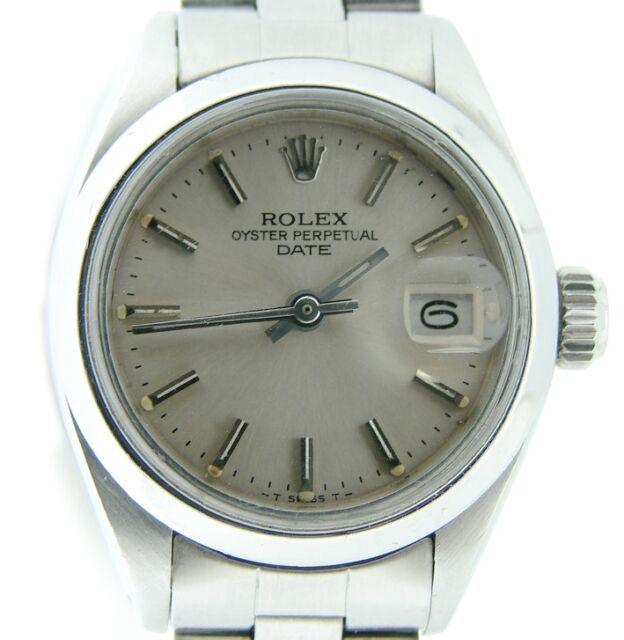Rolex Date Damen Edelstahl Armbanduhr Auster Gewölbte Lünette
