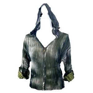 Alberto-Makali-Designer-Zip-Mesh-Hoodie-Jacket-Top-Shirt-Olive-Green-Size-Small