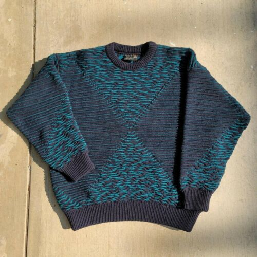 Vintage 90s Coogi 100% Pure Wool Sweater Navy Blue