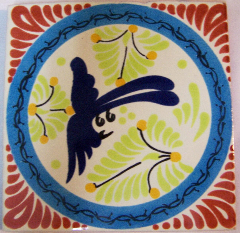 C281- Mexican Handmade Talavera Clay Tile Folk Art 4x4