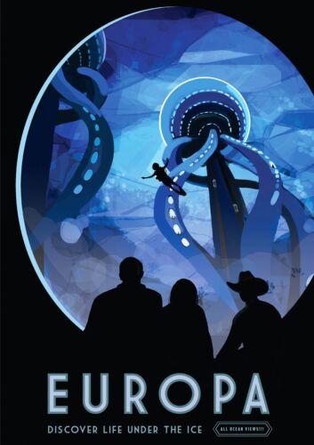 Europa Moon Travel Print NASA POSTER JPL Visions of the Future
