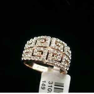 18k Rose Gold Gf Swarovski Crystal Antique Greek Style Ring Vintage