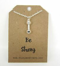 """Be Strong Dumbell Silver 18""""  Message Card Necklace New Encouragement Strength"""