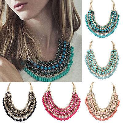New Fashion Jewelry Pendant Chain Crystal Choker Chunky Statement Bib Necklace