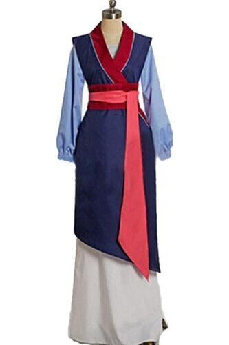 Mulan Cosplay Princess Blue Dress  High Quality Costume for Women/&Kids