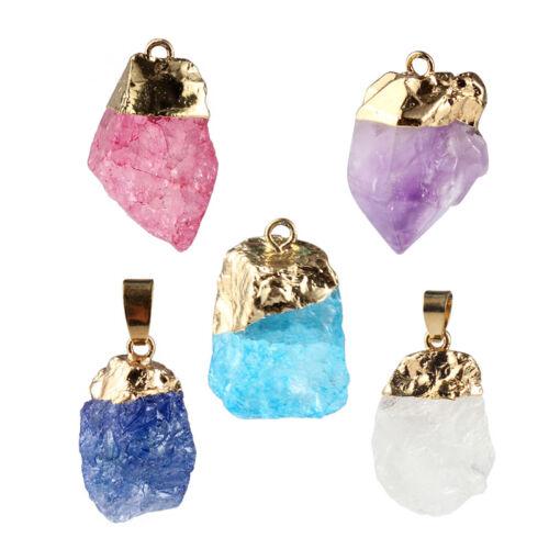1Pcs rose//bleu Irrégulière pierre naturelle Pendentif À faire soi-même Collier de l/'artisanat Making