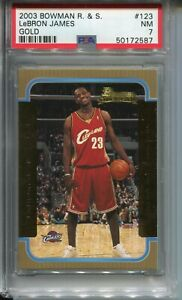 2003-Bowman-Basketball-GOLD-123-Lebron-James-Rookie-Card-Graded-PSA-Nr-Mint-7