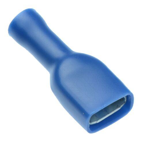 100 X Blau 6.3mm Buchse Vollisoliert Kräusel Flachstecker