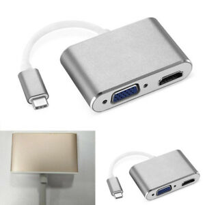 USB-C-3-1-Tipo-C-a-HDMI-amp-VGA-Adaptador-portatil-repuesto-para-HDTV-macbook