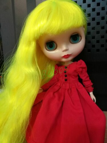 Blythe Nude Doll from Factory Fluorescent Yellow Long Curly Hair With Bang