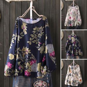 100-coton-Femme-Chemise-a-Imprime-floral-Manche-Longue-Col-Rond-Haut-Shirt