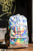 CHOK SILVER REFLECTIVE BACKPACK RUCKSACK Unisex Mirror School College Travel Bag