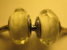 Set 2 Authentic Pandora Silver 925 Ale Fascinating White Glass Bead Charm New