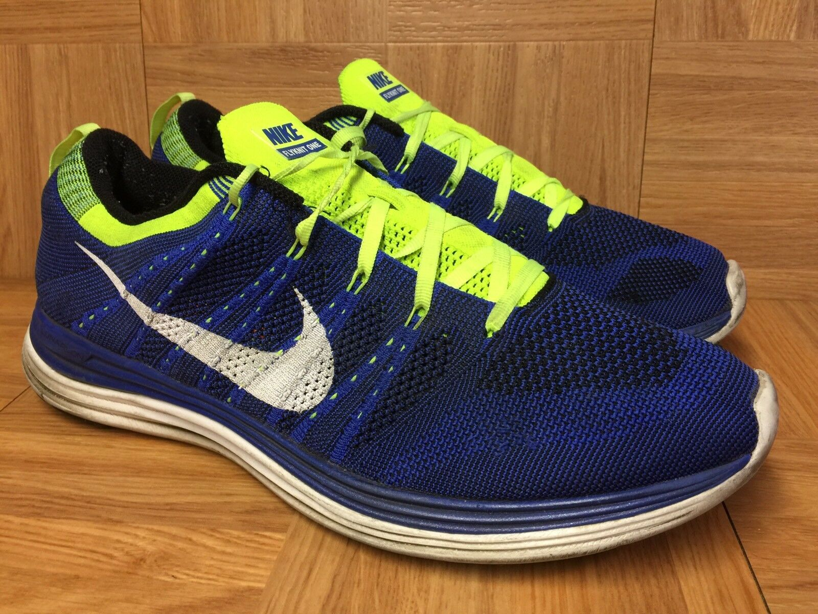 RARE Nike Flyknit Lunar One Game Royal Volt Sz 13 Men's shoes 554887-410 Worn