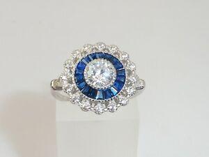 Damen-Handmade-Halo-Design-925-Sterling-Silber-Weiss-amp-Blau-Saphir-Ring