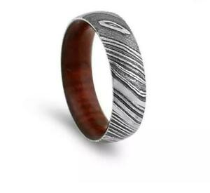 Hand-Made-Damascus-Steel-Wood-Sleeves-Ring-With-Gift-Box