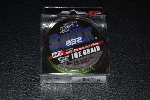 Sufix 832 Advanced Ice Braid Neon Lime 50yd 8lb Test Fishing Line 671-008L
