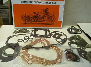 "40-73 Flathead 45"" Complete Motor Gasket Kit James Oem # 17026-40 Made In U.s.a."
