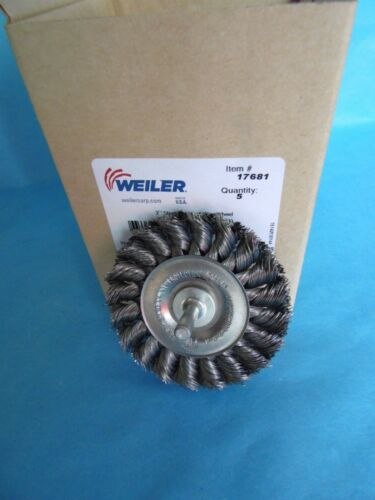 "NEW Weiler 3/"" .014 Wire,1//4/"" Stem Stem-Mounted Knot Wire Wheel 17681 LOT of 5"