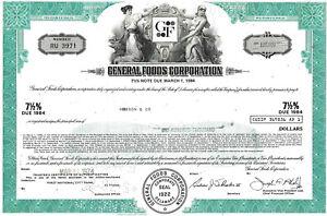 AgréAble General Foods Corporation 1974, 7 1/2% Note Due 1984 (100.000 $)-afficher Le Titre D'origine