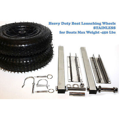 Heavy Duty Launching wheels for Inflatable aluminum Boat RIB Stainless up to 450