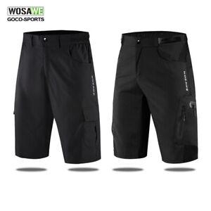 Mens-Cycling-Baggy-Shorts-Elastic-Waist-MTB-Bike-Short-Pants-Inner-Pads-Light